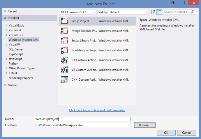 In the Visual Studio, add a new WiX Setup Project.