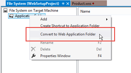 Convert to Web Application folder