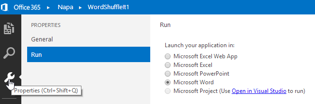 Click on the Properties item and change the application to launch to Microsoft Word.