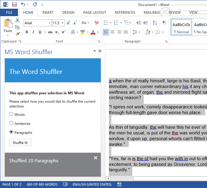 The Word Shuffler app loaded inside a task pane in Microsoft Word.