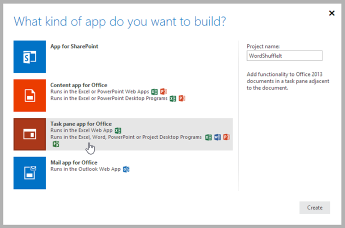 Select Task pane app for Office from the list.