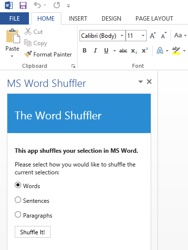 The app will be a task pane running inside Microsoft Office Word.