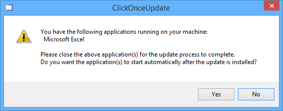 The user is prompted to close Excel in order to finalise the update process.