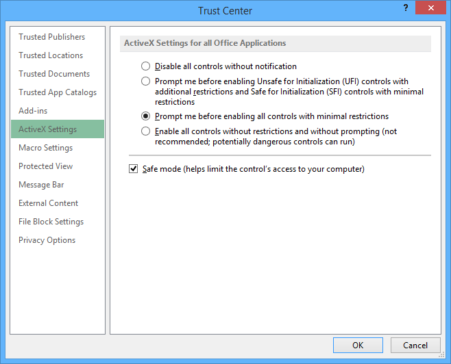 ActiveX Settings for all Office Applications