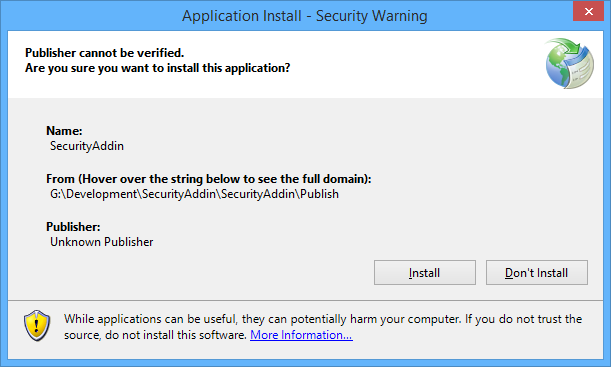 Installing the application not signed with a digital code signing certificate