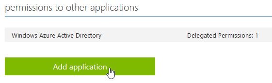 Under 'permissions to other application', click the Add application button.