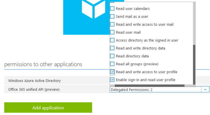 Select the permissions to other applications