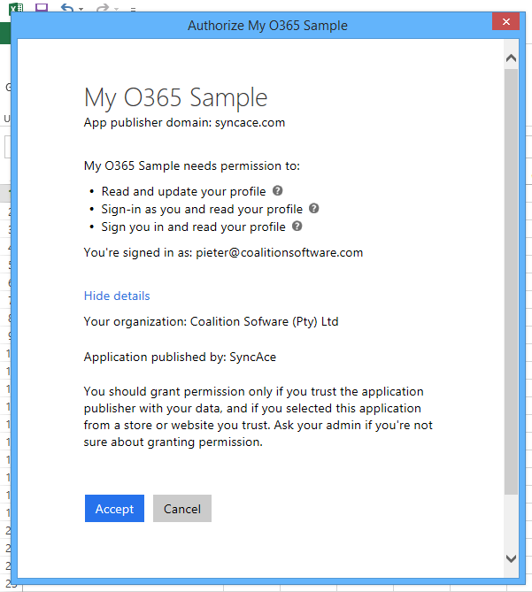 Allow the Office 365 application access to your information or not