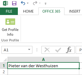 After clicking the Accept button, you will see your Office 365 user's Display name in the selected Excel cell.