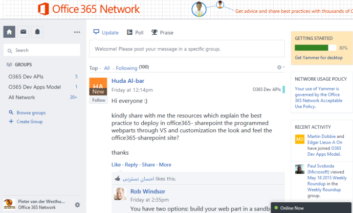 The O365 Dev APIs and O365Dev Apps Model Group on Yammer