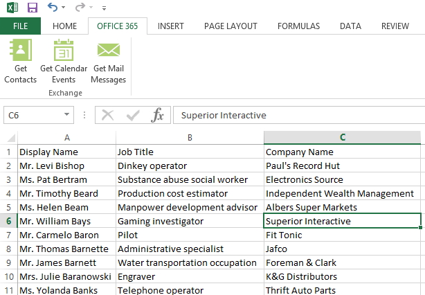 Clicking the Accept button presents your contacts data inside Microsoft Excel.