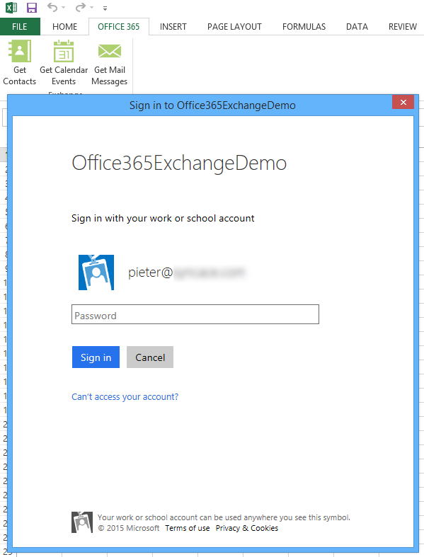 Clicking on any of the three custom buttons presents an Office 365 login form.