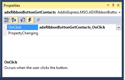 Generating an event handler for the Get Contacts button's OnClick event