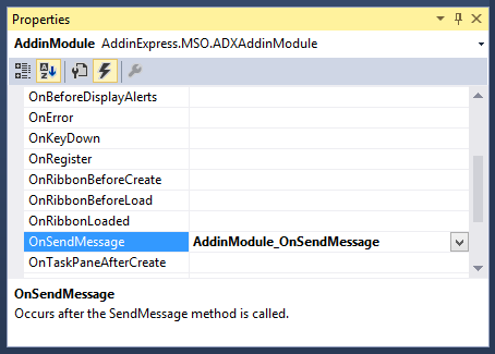 Creating an event handler for the OnSendMessage event