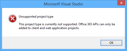 Unsupported project type error