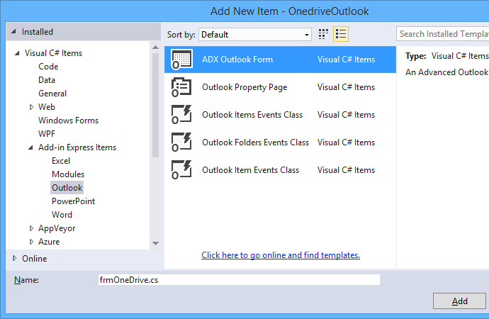 Add a new ADX Outlook Form to the add-in project.