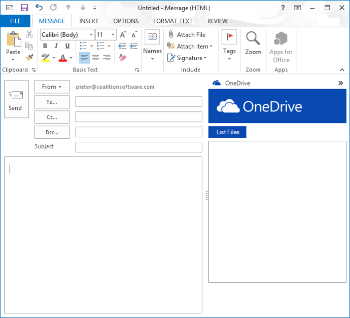 The Advance form region appears on the right hand side of the Mail Inspector window in Outlook.