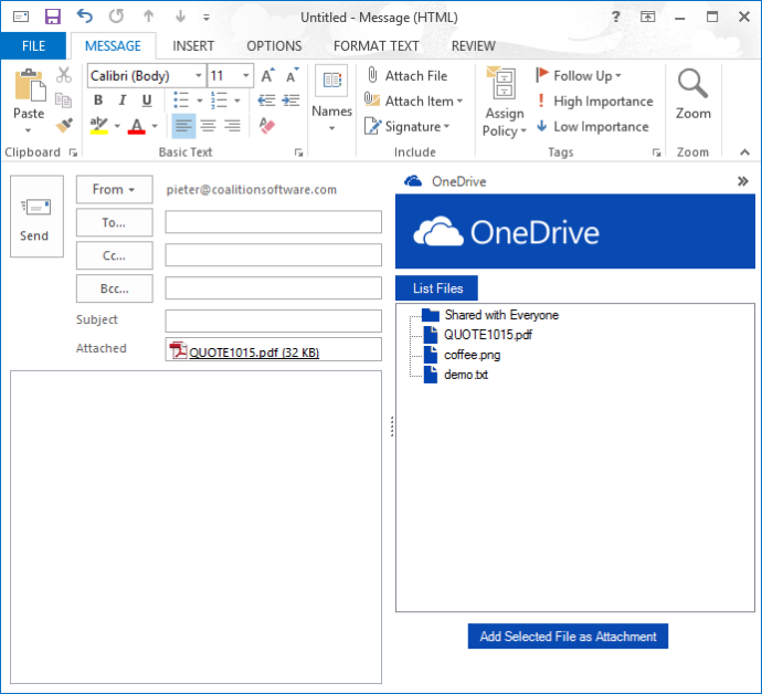 The use can click the 'Add Selected File as Attachment' button to automatically download and attach the OneDrive file to the email.