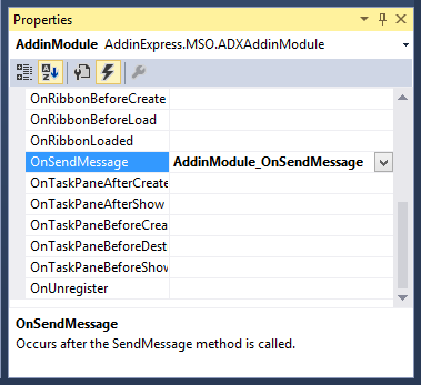 Generating an event handler for the OnSendMessage event