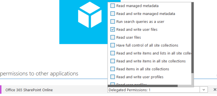 Select 'Read and write user files' from the Delegated Permissions list.
