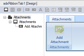 Adding a new ribbon group with the Add Attachment button to the ribbon tab component