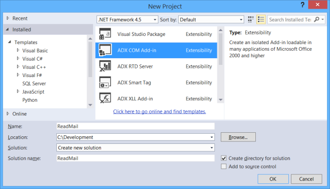 Creating the Outlook add-in in Visual Studio using Add-in Express for Office and .net.