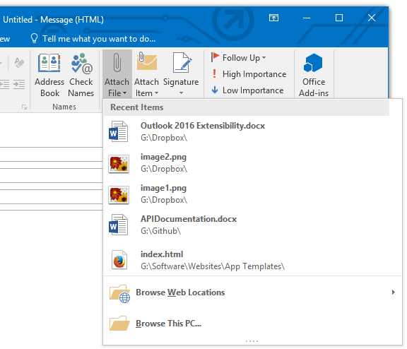 Email attachment changes in Outlook 2016