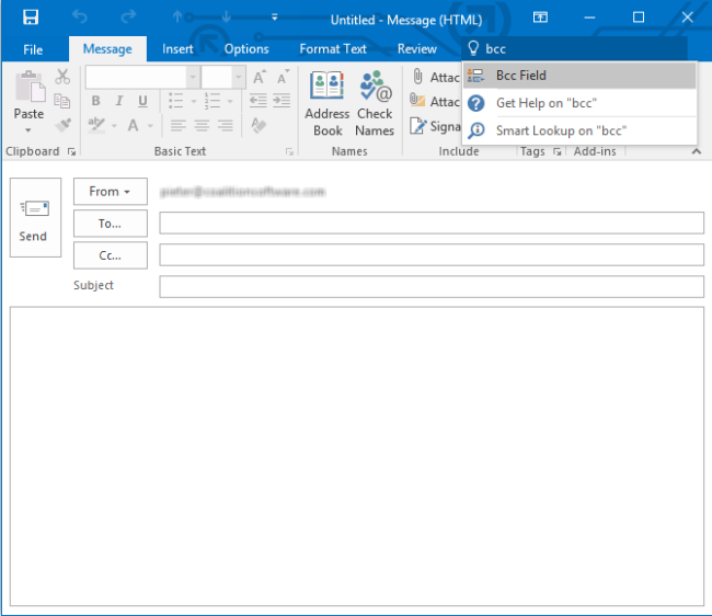 The Tell Me feature in Outlook 2016