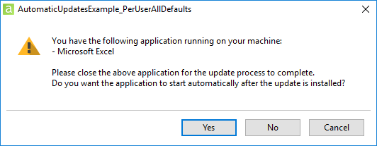 The updater requires to close the add-in's host application