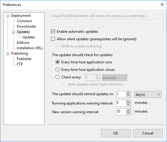 The default Automatic Update settings