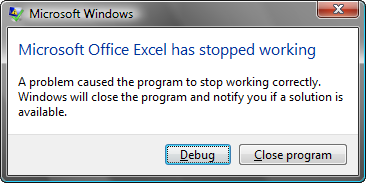 Microsoft Office Excel has stopped working