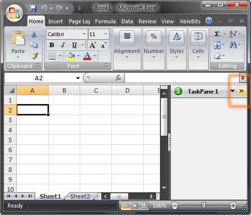 Minimize button for Excel task panes