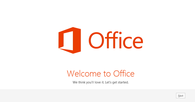 Office 2013 Welcome Screen