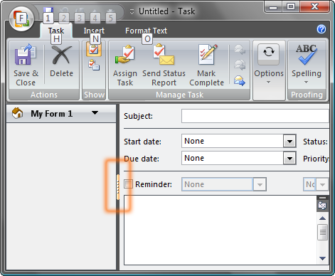 Outlook region splitter button
