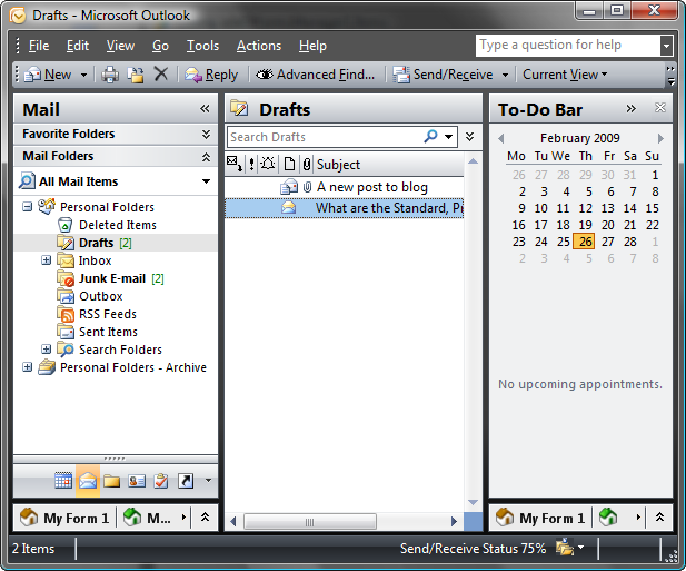 Outlook regions at the bottom of the Navigation pane and To-Do bar