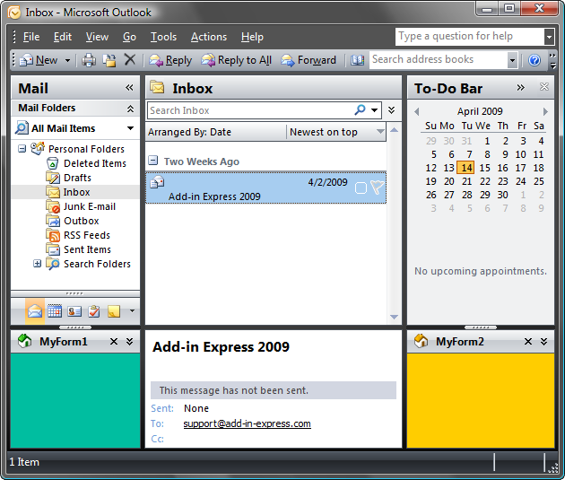 To-Do Bar, Navigation Pane and Outlook Bar region