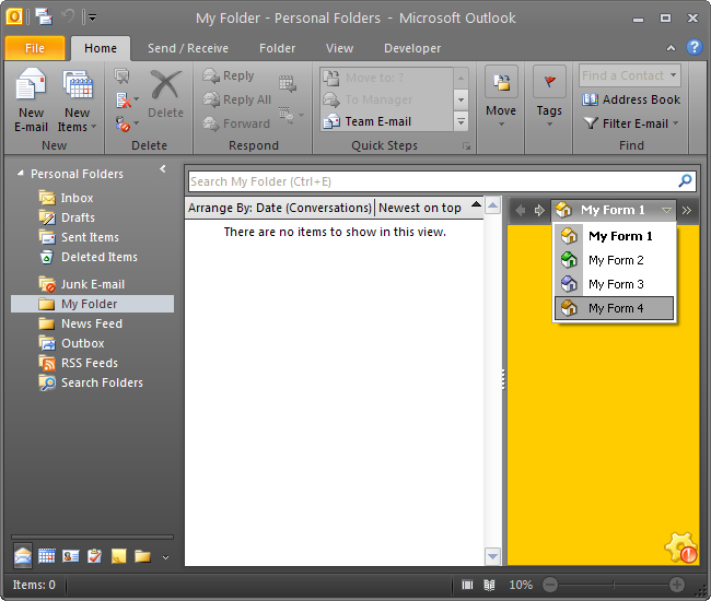Custom Outlook 2010 view and form programmatically: C#, VB NET