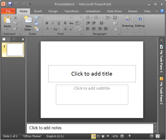 Minimized task panes in Office 2010