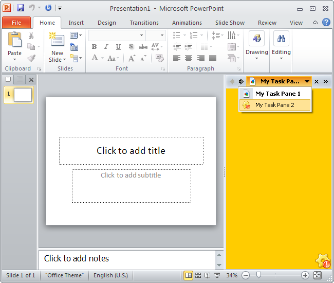 Office 2010 taskpanes for Silver color scheme