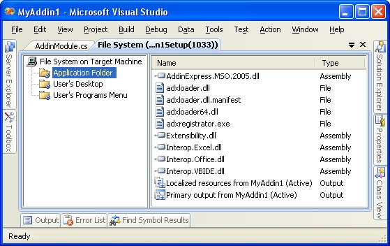 File System editor of the setup project