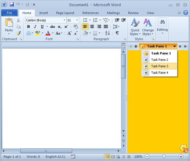 Office 2010 taskpanes for Blue color scheme