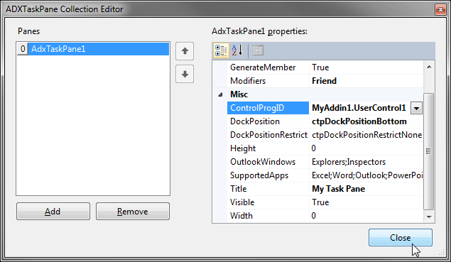 Task Panes collection editor