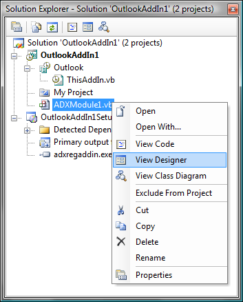 View Add-in Module designer.