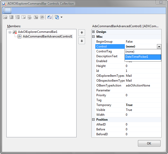 Binding the AdxAdvancedControl to the custom .NET control