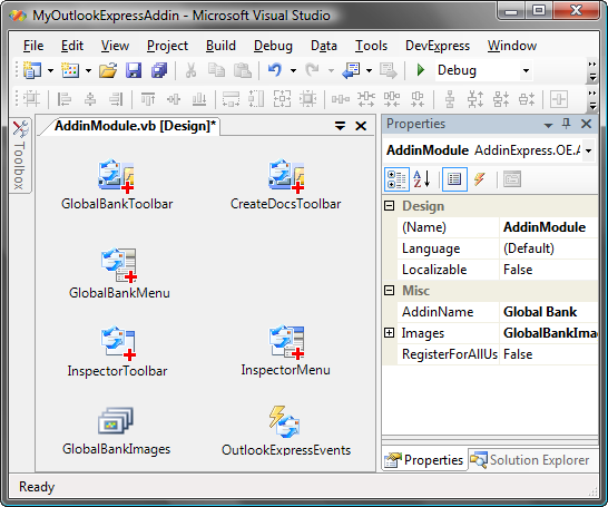 Outlook Express add-in designer