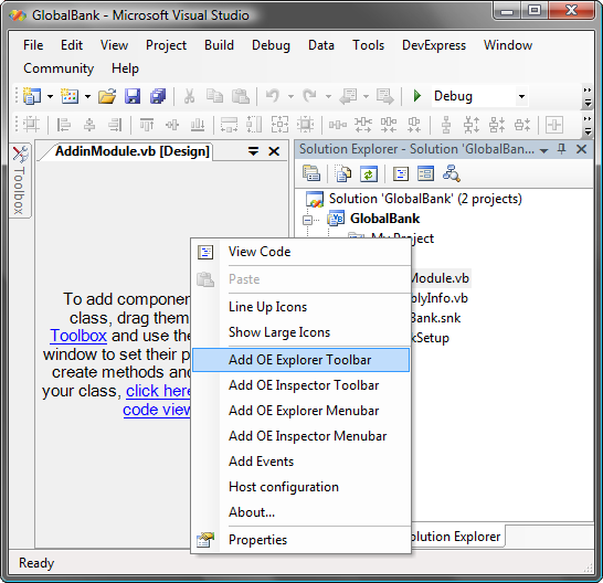 Outlook Express add-in components