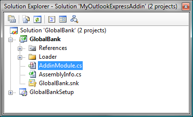 Outlook Express Add-in solution in Visual Studio