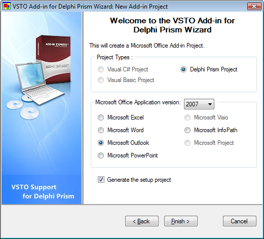 VSTO Support for Delphi Prism - New Add-in Project