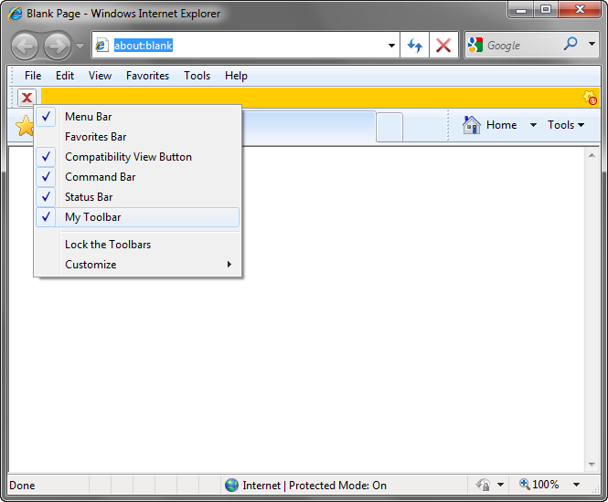 Customize IE commandbar, menu bar and context menus: VB NET, C#, C++