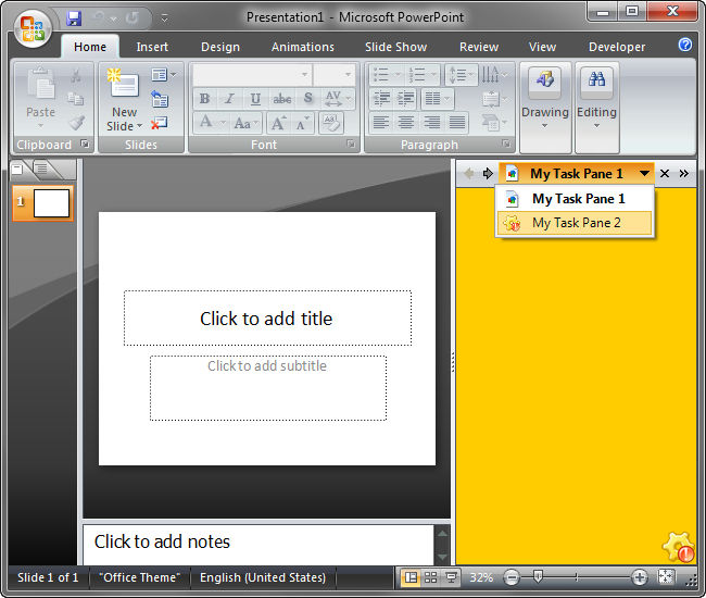 Right PowerPoint dock with two custom task panes